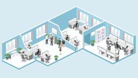 Plant isometriskt för golvinre för kontor 3d begrepp för avdelningar stock illustrationer