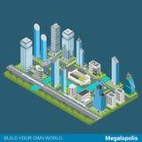 Plant isometriskt för megalopolisstad för vektor 3d kontor för skyskrapor Arkivfoto