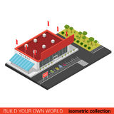 Plant isometriskt för supermarketgalleria för vektor 3d kvarter för byggnad för försäljning Royaltyfri Fotografi