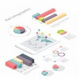Plant isometriskt infographic 3d för dina affärspresentationer Arkivfoto