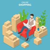 Plant isometriskt vektorbegrepp av lätt shopping, e-kommers, online-lager royaltyfri illustrationer
