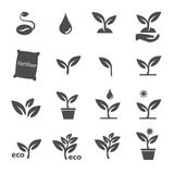 Plant and leave icons set vector Royalty Free Stock Photo