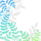 Plant Leaves Foliage Sketchy Notebook Doodles. Vector Illustration of Hand-Drawn Abstract Sketchy Notebook Doodles Leaves Edge Border Design Stock Photography