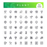 Plant Line Icons Set. Set of 56 plant  line icons suitable for gui, web, infographics and apps.  on white background. Clipping paths included.r Stock Image