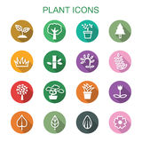 Plant long shadow icons. Flat vector symbols Stock Photography