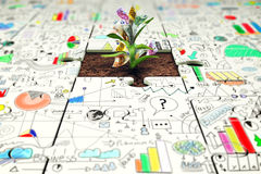 Plant with money grows from a missing piece of puzzle