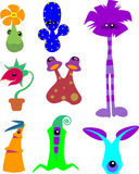 Plant monsters. Cute clip art plant monsters vector illustration