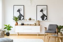 Plant next to white cupboard under posters in bright flat interior with grey armchair. Real photo royalty free stock photography