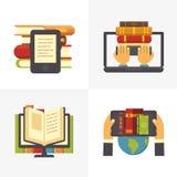 Plant online-arkiv Tillträde för bok för skolaarkiv på bärbara datorn Vetenskapsutbildningsläroböcker och digital vektor för bokl royaltyfri illustrationer