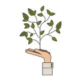 Plant over hand design Royalty Free Stock Images