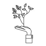 Plant over hand design Stock Photography