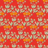 Plant pattern on a red background vintage Royalty Free Stock Photo