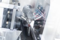 Plant picture, manufacture, steel chrome machines inside, electronics Royalty Free Stock Image
