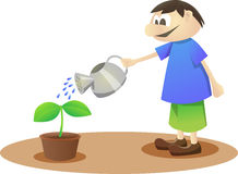 Plant a Plant. Big boy watering a plant on a pot Stock Photo