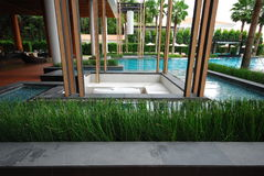 Plant and pool outdoor design. This is plant and pool outdoor design in hotel.this place is in ast of thailand Stock Image