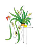 Plant in a pot. With a butterfly royalty free illustration