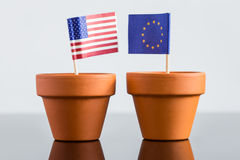 Plant pot with european and usa flag Royalty Free Stock Images