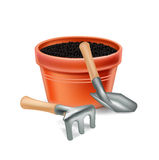 Plant pot and gardening tools  Royalty Free Stock Photography