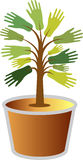Plant pot in hand logo. Illustration art of a plant pot in hand logo with isolated background Royalty Free Stock Photo