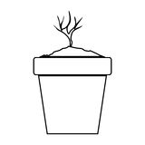 Plant pot icon. Silhouette of plant growing in a pot icon over white background. vector illustration Stock Photo