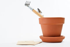 Plant Pot with Seeds and Tools Royalty Free Stock Photo