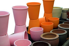 Plant pots. Pots, lined up awaiting plants Royalty Free Stock Photos