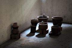 Plant pots on bricks in dark shadows in a stained complex hall royalty free stock images