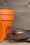 Plant pots and gardening equipment Royalty Free Stock Photo