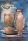 Plant and Pottery. With plants Painting soft pastel Royalty Free Stock Image