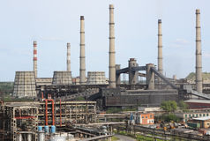 Plant processing of coal. JSC Plant Slantsy, Leningrad region, Russia. Processing of coal and secondary oil refining Royalty Free Stock Photos