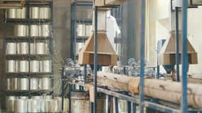 Plant for producing fiberglass rods - manufacture of composite reinforcement - fiberglass in reels. Slider shot stock video