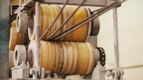 Plant for producing fiberglass rods - manufacture of composite reinforcement - fiberglass in reels. Slider shot stock video footage
