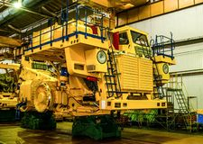 Plant for the production of career heavy dump trucks Belaz. Belaz is a Belarusian manufacturer of haulage and earthmoving equipmen. T, dump trucks, haul trucks stock images