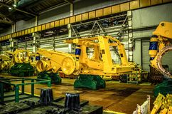 Plant for the production of career heavy dump trucks Belaz. Belaz is a Belarusian manufacturer of haulage and earthmoving equipmen. T, dump trucks, haul trucks royalty free stock photography