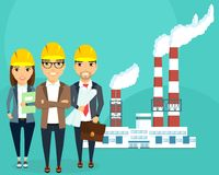 Plant for the production of electricity. A young team of engineers. The concept of creating a plant for the production of electric energy. Happy people vector illustration