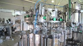 Plant for the production of mineral water. Water bottling in plastic white.  stock video