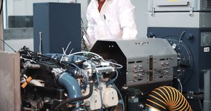 Plant on production and repair of aviation engines stock video