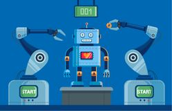 Plant for the production of robots with claws. stock illustration