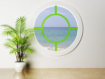 The plant and the round window Stock Images