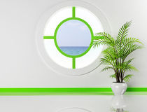 The plant and the round window Royalty Free Stock Photos