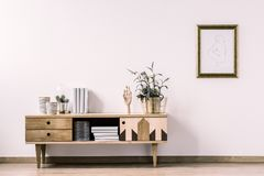 Minimal living room interior. Plant on rustic cupboard against white wall with poster in gold frame in minimal living room interior Stock Photography