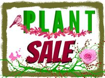Plant Sale Sign. Sign says plants are on sale. Bold letters are green and burgundy. Embellishments include pink plants with butterflies and a bird. White Stock Photo