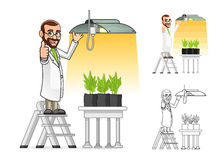 Plant Scientist Cartoon Character Hanging a Grow Light. High Quality Plant Scientist Cartoon Character Hanging a Grow Light Include Flat Design and Line Art Stock Images