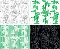 Plant seamless pattern. Four vector Endless backdrop with leaves Stock Photos