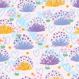 Plant shell know shy mushroom seamless pattern. This illustration is design and drawing abstract cause mushroom shy, never tell `plant like a shell` is what with Stock Photo