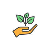 Plant, sprout in a hand filled outline icon, line vector sign, linear colorful pictogram. Symbol, logo illustration. Pixel perfect royalty free illustration