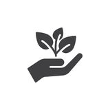 Plant, sprout in a hand icon vector, filled flat sign, solid pictogram isolated on white. Symbol, logo illustration. Pixel perfect Royalty Free Stock Images