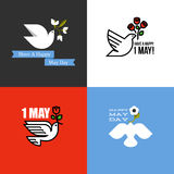 Plant stilkort för ferie av den internationella arbetardagen 1 Maj vektor illustrationer