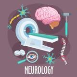 Plant symbol för neurologi med hjärnforskningsymboler stock illustrationer