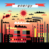Plant and thermal power plant. Graphic image plant and thermal power plant at sunse Stock Illustration
